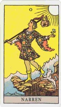 Tarotkortet 0 - Narren, avbildad